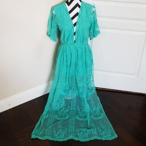 Turquoise Lace Maxi/Romper NWOT